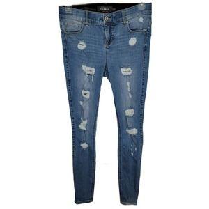 Torrid Bombshell Skinny Jean 10R Distressed
